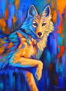 Coyote Prints - Poised Print by Theresa Paden