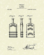 Glass Bottle Framed Prints - Poison Bottle 1915 Patent Art Framed Print by Prior Art Design