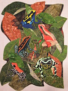 Fabric Collage Tapestries Textiles Prints - Poison Dart Frogs #2 Print by Lynda K Boardman