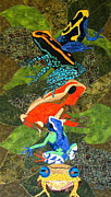 Art Quilts Tapestries Textiles Posters - Poison Dart Frogs Poster by Lynda K Boardman