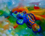 Fish Underwater Paintings - Poisson Bleu by Pamela Roehm