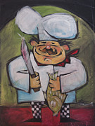 Smile Paintings - Poissonnier fish chef by Tim Nyberg