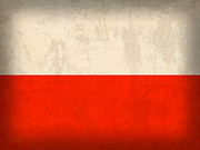 Poland Prints - Poland Flag Distressed Vintage Finish Print by Design Turnpike