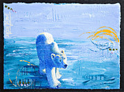 North Pole Paintings - Polar Bear Abstract by Tracy L Teeter