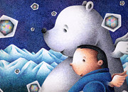 Snowy Night Drawings - Polar bear and me by T Koni