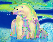 Cubs Mixed Media Posters - Polar Bear Aurora Poster by Teresa Ascone