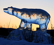 Ice Sculpture Posters - Polar Bear Ice Sculpture at Sunset Poster by Gary Whitton