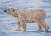 Bears Paintings - Polar Bear Mini Painting by Crista Forest