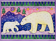 Pine Trees Painting Metal Prints - Polar Bears Metal Print by Cathy Baxter
