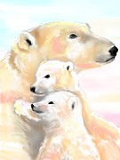 Cubs Mixed Media Posters - Polar Mom and Cubs Poster by Kristina Becker