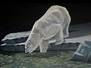 Polar Bears Paintings - Polar Nocturne by Renee Forth Fukumoto