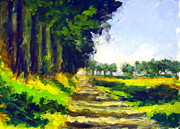 Nederland Paintings - Polderroad with low sun by Wim Wege van de