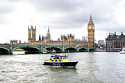 Police Officer Metal Prints - Police boat on the river thames outside parliment Metal Print by Fizzy Image
