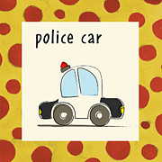 Police Painting Metal Prints - Police Car Metal Print by Esteban Studio
