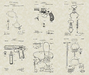 Technical Art Drawings Prints - Police Detective Equipment Patent Collection Print by PatentsAsArt