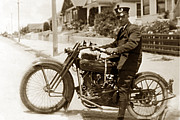 Police Officer Prints - Police man on a Harley Davidson  motorcycles circa 1920 Print by California Views Mr Pat Hathaway Archives