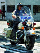 Police Patrol Law Enforcement Prints - Police - Motorcycle Cop Print by Susan Savad