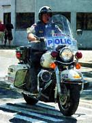 Police - Motorcycle Cop Print by Susan Savad