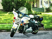 Policewoman Framed Prints - Police - Police Motorcycle Framed Print by Susan Savad