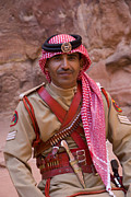 Ceremonial Framed Prints - Policeman in Petra Jordan Framed Print by David Smith