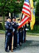 Designs By Susan Prints - Policeman - Police Color Guard Print by Susan Savad