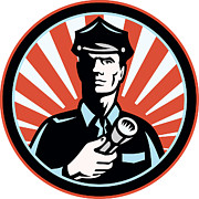 Police Posters - Policeman Security Guard With Flashlight Retro Poster by Aloysius Patrimonio