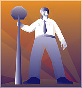Police Stop Posters - Policeman Standing With Stop Sign Retro Poster by Retro Vectors