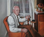 Elderly People Paintings - Polish Grandfather by Melinda Saminski