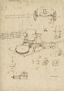 Exploration Drawings Metal Prints - Polishing machine formed by two wheeled carriage from Atlantic Codex Metal Print by Leonardo Da Vinci