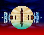 London Skyline Art - Political colors by Sharon Lisa Clarke