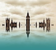 London Skyline Digital Art Prints - Political Fractions Print by Sharon Lisa Clarke