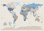 Political Framed Prints - Political Map of the World Framed Print by Michael Tompsett