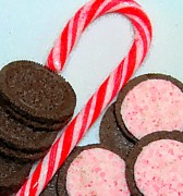 Candy Digital Art - Polka Dot Candy Cane Cookies by Barbara Griffin
