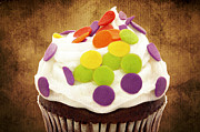 Cupcake Photography Prints - Polka Dot Cupcake 2 Print by Andee Photography