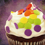 Cupcake Photography Prints - Polka Dot Cupcake 4 Square Print by Andee Photography