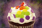 Cupcake Photography Prints - Polka Dot Cupcake 4 Texture Print by Andee Photography