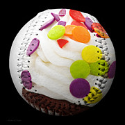 Baseball Art Mixed Media Posters - Polka Dot Cupcake Baseball Square Poster by Andee Photography
