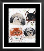 Red And White Polka Dot Framed Prints - Polka Dot Family Pets with Borders - Whimsical Art Framed Print by Barbara Griffin