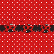 Buy Digital Art - Polka Dot Lady Bugs GRAPHICS by Kika Esteves  with CUSTOM coordinated design crafted by D Miller.  by Debra  Miller