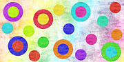 Fabric Mixed Media Framed Prints - Polka Dot Panorama - Rainbow - Circles - Shapes Framed Print by Andee Photography