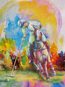 Hockey Painting Prints - Polo Art Print by Catf