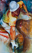 Sports Art Mixed Media Posters - Polo Player Poster by Jani Freimann
