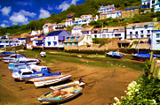 Colorful Village Framed Prints - Polperro at Low Tide Framed Print by David Smith