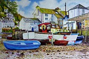 Roger Turner Framed Prints - Polperro Harbour Framed Print by Roger Turner
