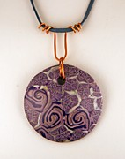 Contemporary Jewelry Metal Prints - Polymer Clay Pendant MC04211205 Metal Print by P Russell