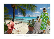Coral Dress Art - Polynesian Lagoon and Sandy Beach by Laurent Sauvat-Salmon
