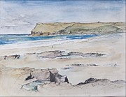 North Sea Painting Framed Prints - Polzeath and Pentire Head Framed Print by Caroline Hervey-Bathurst