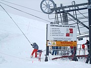 Skiing Photographs Posters - Poma Lift Poster by Fiona Kennard