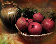 Clay Digital Art Posters - Pomegranate Basket and Clay Jar Poster by Bedros Awak