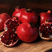 Snack Drawings Prints - Pomegranate Print by Cole Black